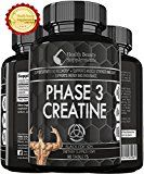 ANABOLIC MONOHYDRATE CREATINE BLACK EDITION Best Lab Tested Creatine Ever Made  Phase 3 Creatine  Monohydrate Powder  HCI & Pyruvate  Extreme Bodybuilding Pills Capsules  By Muscle Phase