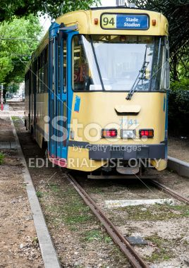 Tram 94 at Louise stop in Brussels, Belgium Royalty Free Stock Photo
