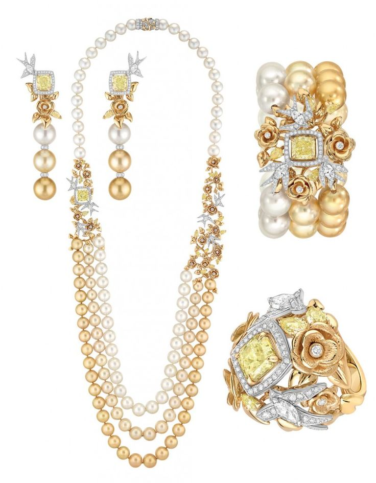New High Jewellery collection by Chanel 'Perles de Chanel'. Envolee Solaire set with yellow cushion cut diamonds and white diamonds, Japanese and South Sea cultured pearls