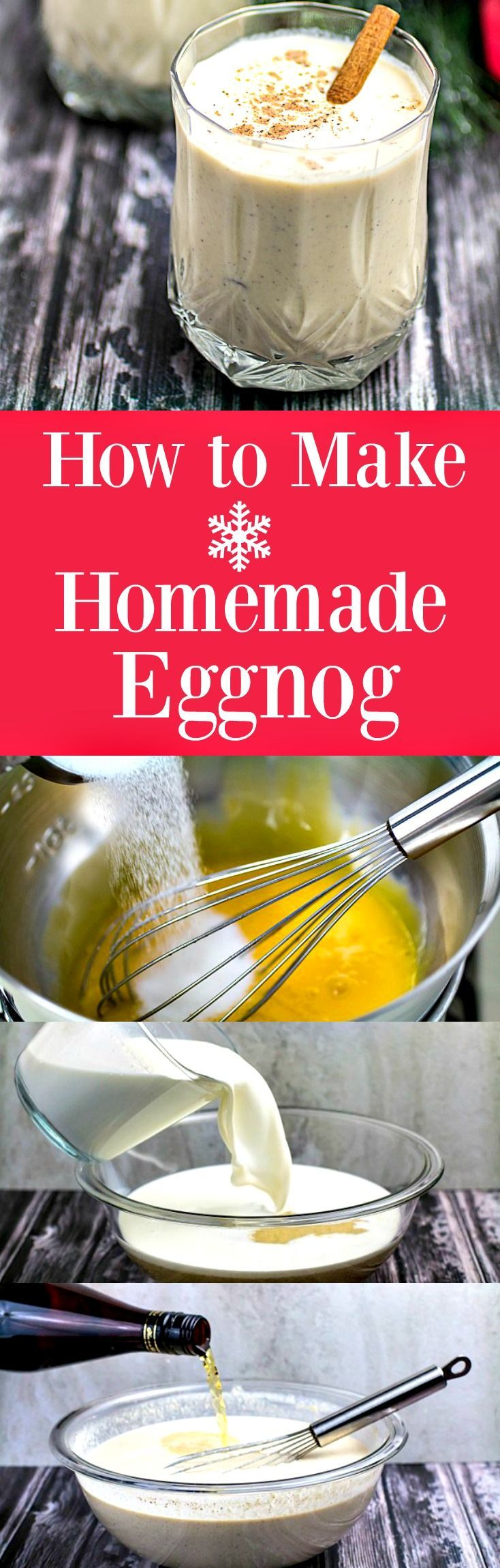 Click this pin to learn how to make homemade eggnog! Repin to save recipe instructions for later! Creamy, sweet, and thick, this traditional holiday eggnog is one step away from being a custard dessert. Cinnamon, nutmeg, and vanilla combine perfectly with the smooth texture and the optional kick of rum. Why settle for store-bought when it's easy and fun to learn how to make homemade eggnog! It's also gluten free!