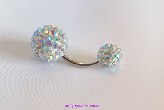 bellybutton ring with Clear AB large and small double crystal ball by BellyRingsNBling, $16.25