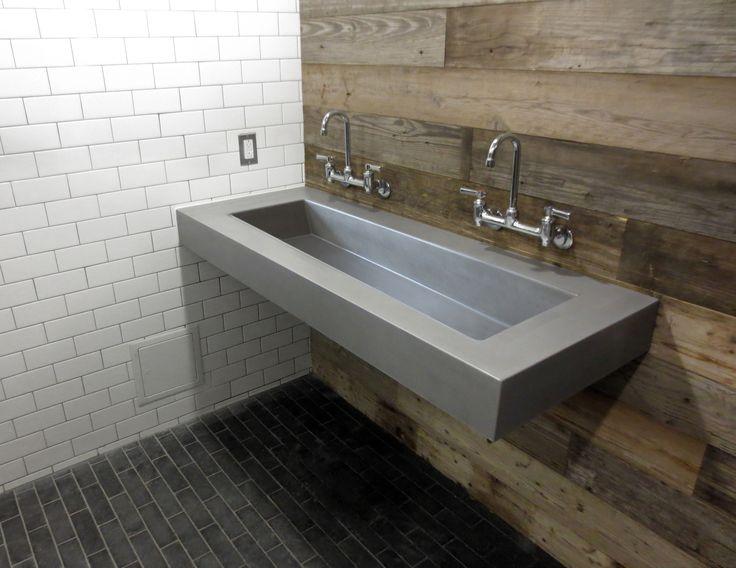 Custom Floating wall mount concrete sink by Trueform