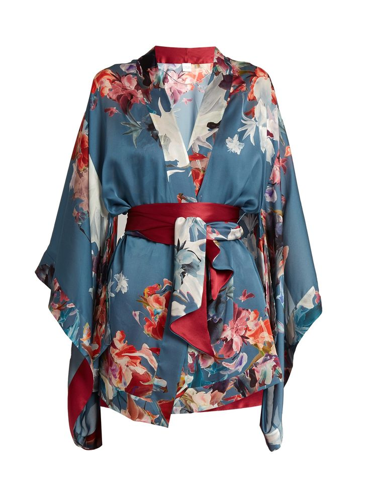 Wonderland-print silk-satin robe | CARINE GILSON | MATCHESFASHION.COM