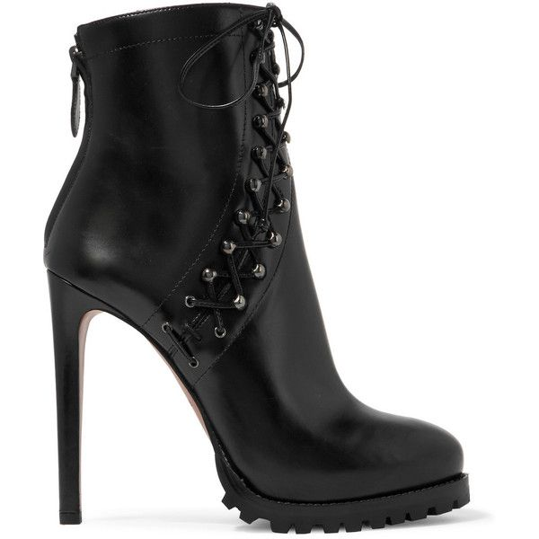 Alaïa Lace-up leather platform ankle boots ($1,760) ❤ liked on Polyvore featuring shoes, boots, ankle booties, heels, ankle boots, black, black heeled boots, black heel booties, lace up heel booties and black leather bootie