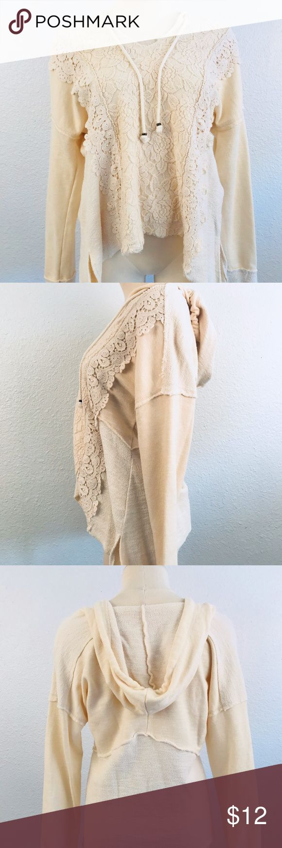 Cato Heavy Lace Cream Hoodie Women's Medium Cato Heavy Lace Cream Hoodie  Women's Medium Super Cute Hoodie in Excellent Condition.  No Flaws. Cato Tops Sweatshirts & Hoodies