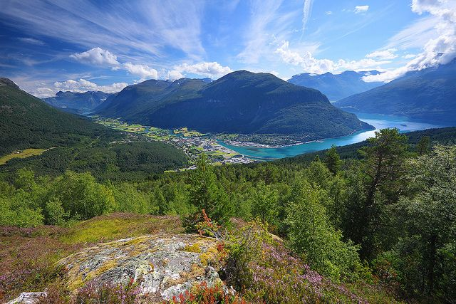 by jensvins on Flickr.  Panorama over Stryn valley and Nordfjord - Norway.