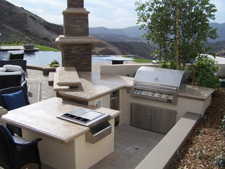 Custom Tri Level Outdoor Kitchen With Poured In Place