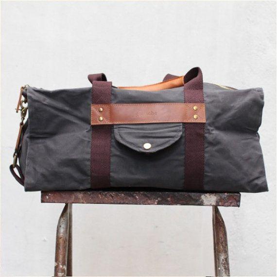 Gouache Waxed Canvas Hogarth Duffel Bag in Asphalt Grey by QamaySF