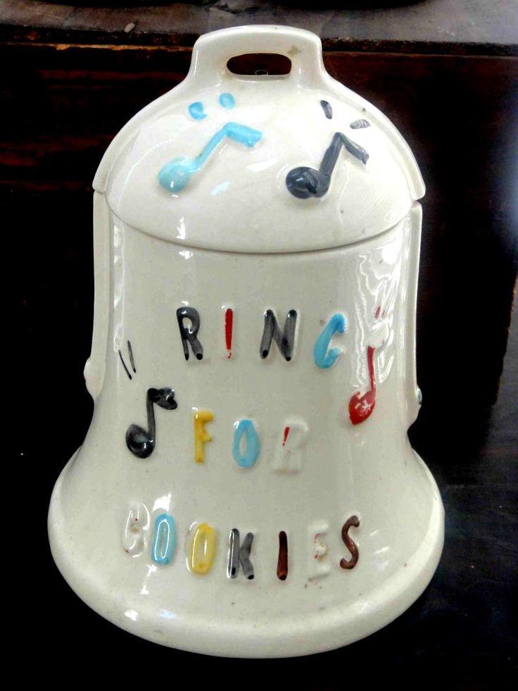 Vintage Antique Cookie Jar w Bell Inside Lid Ring for Cookies | eBay