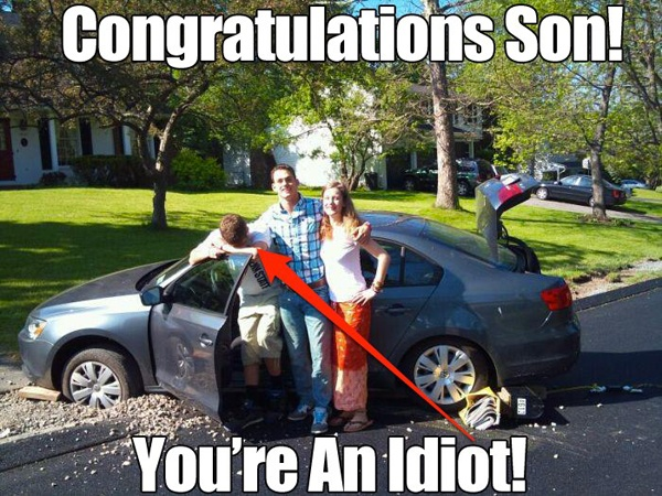 WTF, this kid gets a brand new scion tc and then he has the nerve to crash it the very first day he gets it. Can't believe it man, this funny pic should be posted all over his facebook profile!