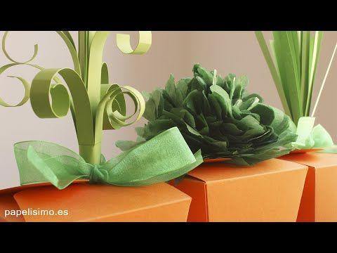 Cajas de cartulina con forma de zanahoria de papel para dulces - YouTube
