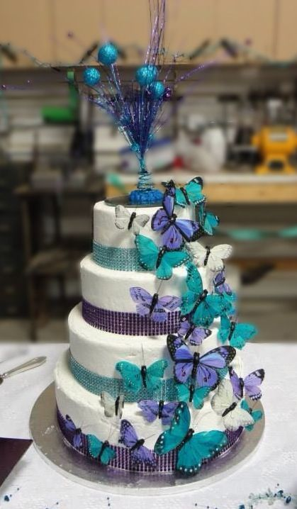 Purple And Teal Wedding Cake Hy Vee Erflies Ordered On Rhinestone Ribbon From Michaels Topper Was A Mini Decoration The