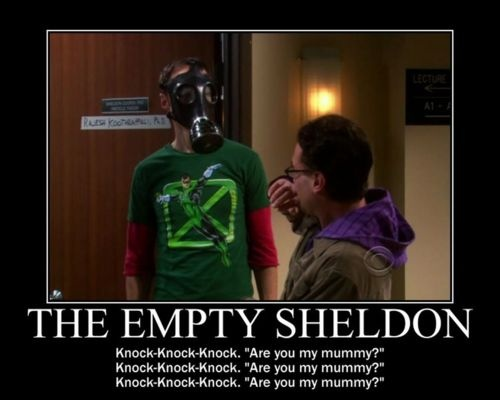 The Empty Sheldon - OMG - two of my geeky fandoms collide!Geeky, Whovian, Nerdy, Big Bangs Theory, Funny, Doctors Who, Empty Sheldon, Mummy, Fandoms