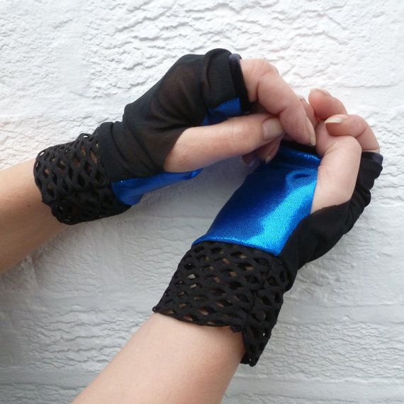 Gloves gothic accessory dancing blue steampunk by Regathered