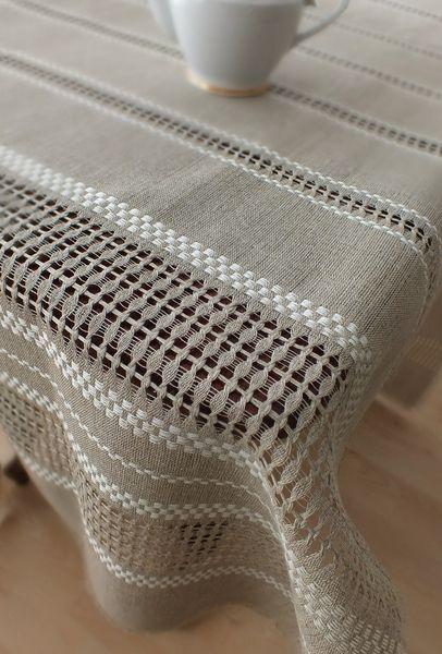 Hand woven Linen lace tablecloth - table runner de noraVintageHome por DaWanda.com