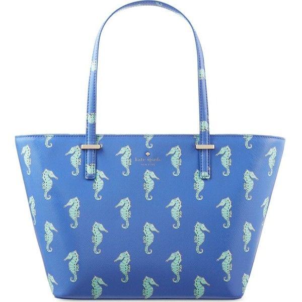 Kate Spade New York Mini Harmony seahorses tote ($245) ❤ liked on Polyvore featuring bags, handbags, tote bags, kate spade tote, summer purses, kate spade tote bags, summer tote bags and blue purse