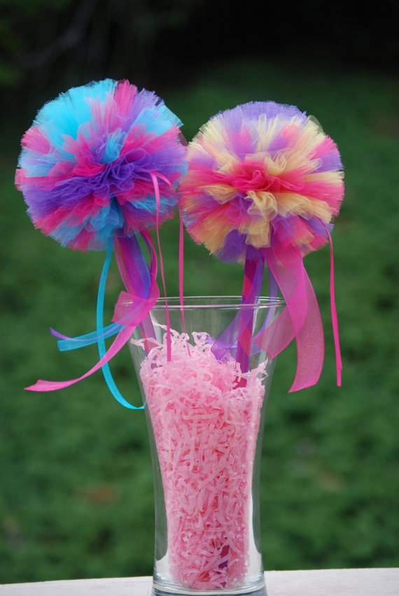 Tulle Poof Wands. For my flower girls?