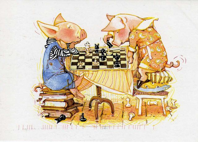 by Holly Hobbie - buddies playing chess.  Toot and Puddle