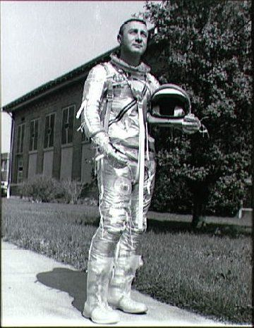 Gus Grissom modeling the new Mercury Space Suit, 4/3/1961