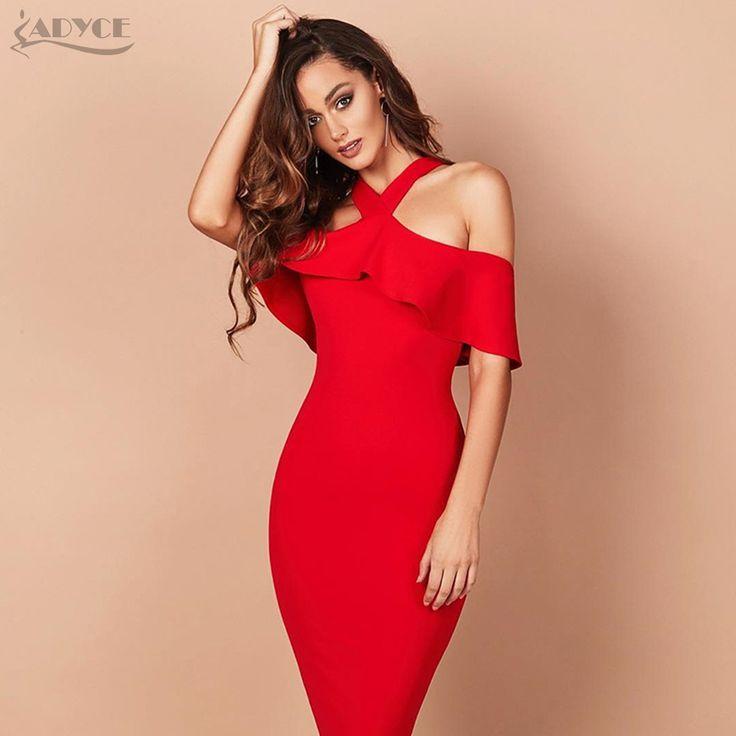 Adyce 2017 Hot Sale Summer Party Dress Red Black White Ruffles Patchwork Off The Shoulder Vestidos Celebrity Women Bandage Dress