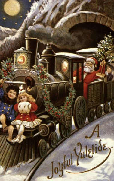Vintage postcard for christmas with Santa, children and a train full of gifts!