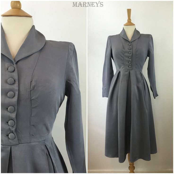 Vintage 1940s Dress - 40s Blue Grey Taffeta Tea Dress - Pleated Swing Dress - WWII Wartime Era - Small / Medium - UK 10/12 by Marneys on Etsy