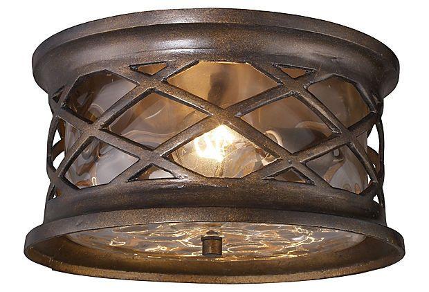 ELK 42037/2 Barrington Gate 12 Inch Diameter Flush Mount Bronze Outdoor Ceiling