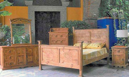 4 PC Rustic Natural Wax San Gabriel Full Size Bedroom Set