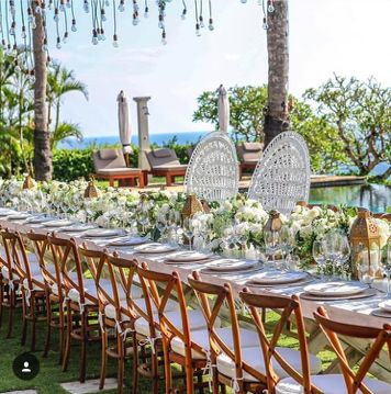 23 best take a seat images on pinterest dream wedding wedding peacock chairs bride and groom chairs tropical luxe garden boho wedding table ideas long junglespirit Gallery