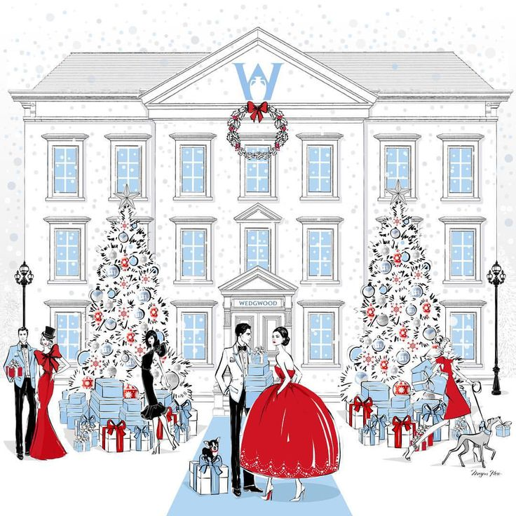 "Megan Hess auf Instagram: ""Would you like to own a large scale print of this special Christmas illustration that I created for Wedgwood? Visit the FACEBOOK page of @wedgwoodau and you can enter their competition to win this signed print!"""