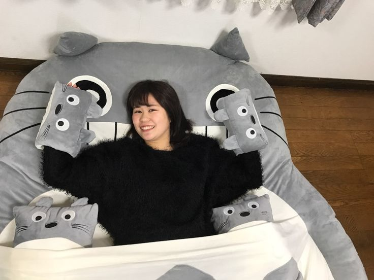 399.00$  Watch here - http://aliokr.worldwells.pw/go.php?t=32752639884 - Totoro Double Bed Soft Cushion/Sleeping Bag Huge Cute Cartoon Bed Memory Foam Mattress Cover Pad Bedding Set Protector 170X200CM