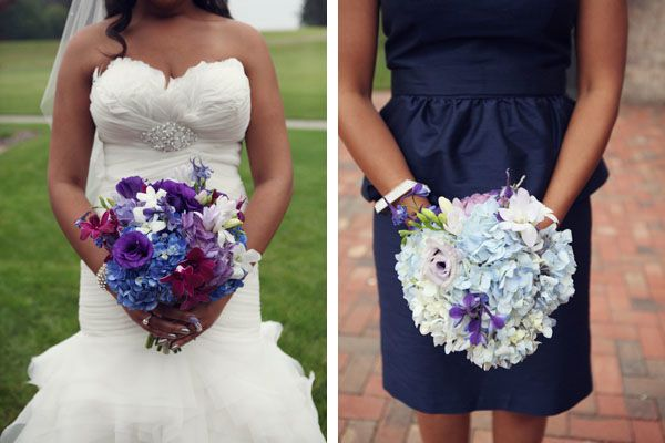 How about these contrasting wedding bouquets for a Southern wedding? With a white wedding dress, the bride's bouquet of bright purple and blue flowers added a pop of color. Meanwhile, the pastel blue and lavender details in the bridesmaids' flower bouquets complemented their short navy blue dresses. These ideas are gorgeous for a spring wedding!