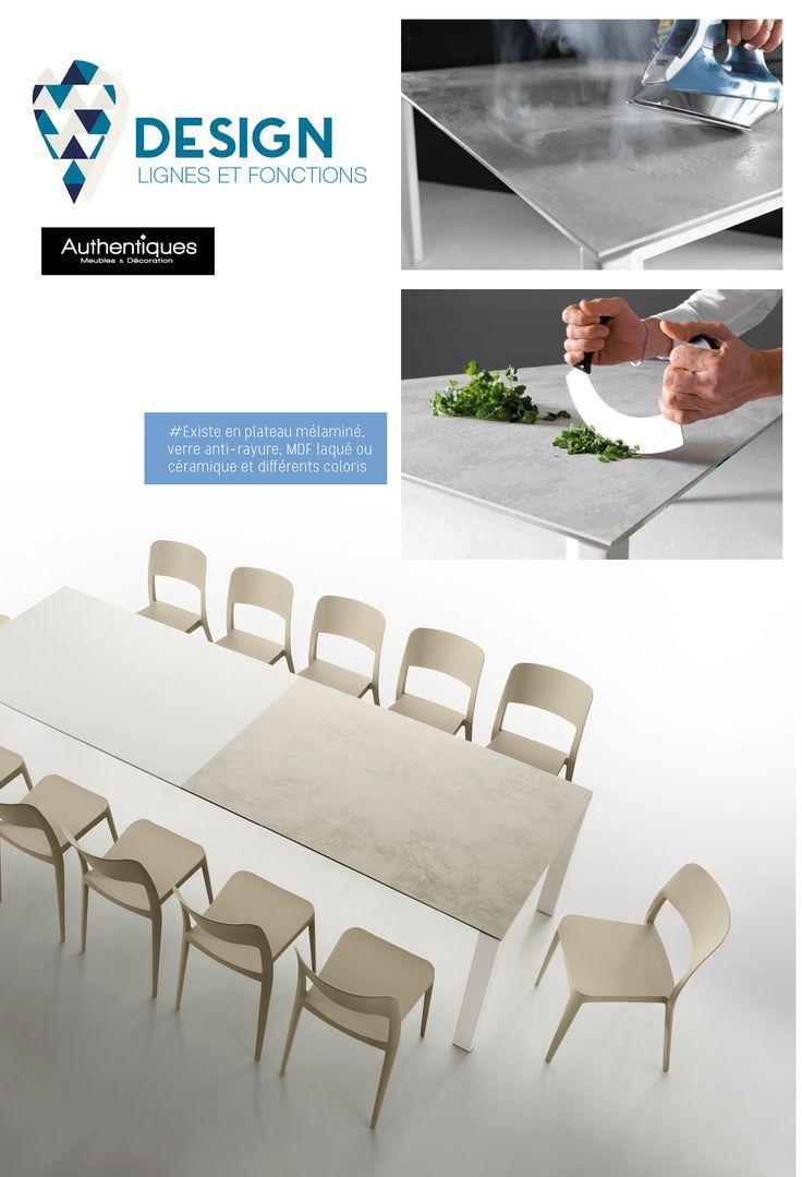 Table extensible à allonges, plateau céramique, allonge MDF laqué. 3 allonges possibles 140/290xH77x90 cm. #Authentiques #design #meubles #table #bleu #turquoise #blanc #décorationd'intérieur #déco #coussin #canapé #tablebasse #collection #belleligne #contemporain  #moutarde  # bleu canard #table basse #table basse relevable #table basse industrielle #canapé angle convertible