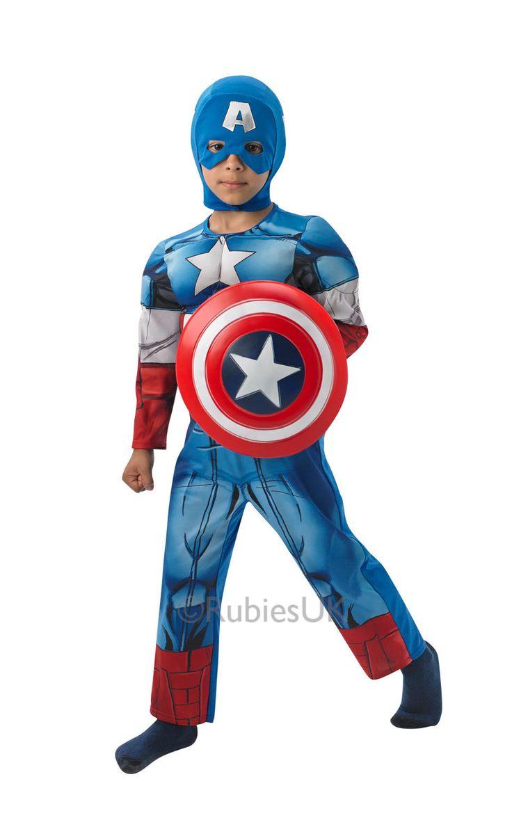 Captain America Deluxe. Naamiaisasu on lisensoitu Marvelin Kapteeni Amerikka naamiaisasu.