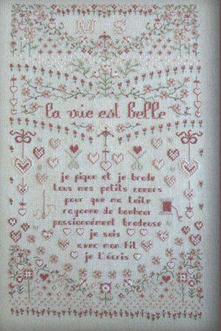french cross stitch pattern la vie est belle by thecottageneedle