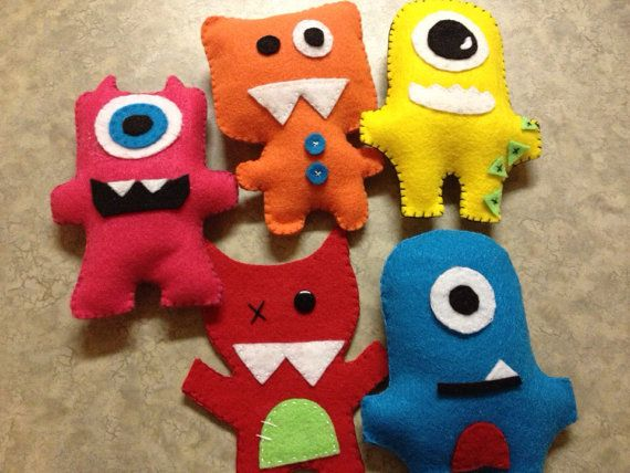 Felt monsters party favors toys hand by CreativeMeliDesigns, $7.00