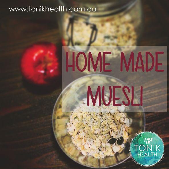 Healthy, home made muesli for breakfast!  https://www.tonikhealth.com.au/recipes/home-made-muesli/  #homemade #healthy #recipe #nutrition #breakfast