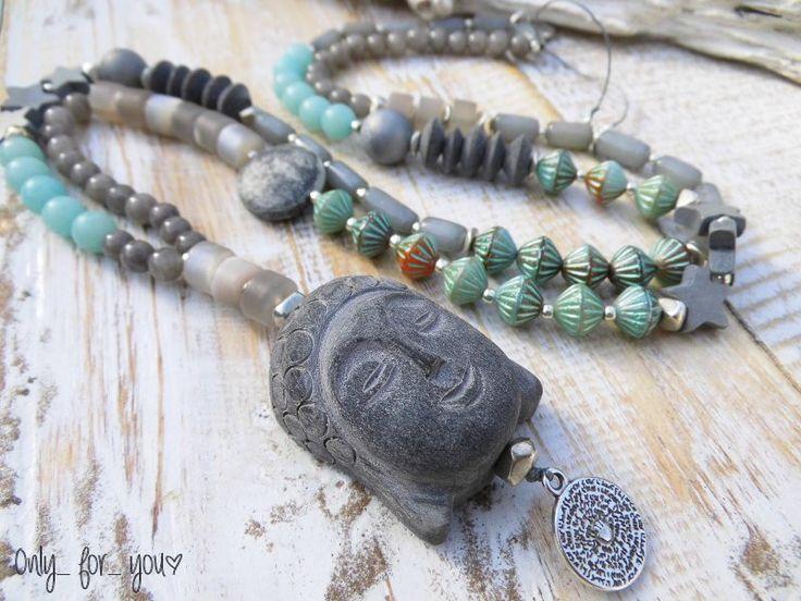 Ketten lang - Lange Kette ☮ Buri Samen ☮ Buddha ☮ Horn grau - ein Designerstück von Only_for_you bei DaWanda