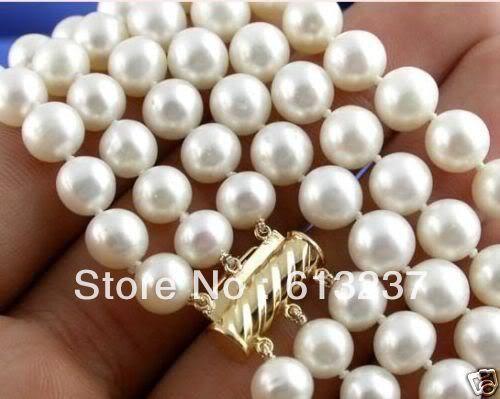 8-9 мм белый натуральный жемчуг пресноводных культивированный круглые бусины 3 строк ожерелье высокого качества женщин обручальные подарки 17-19 дюймов MY4787