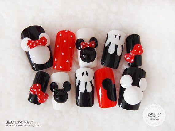 "Special Edition Fake Nail Set- "" Mickey and Minnie "". $22.00, via Etsy."
