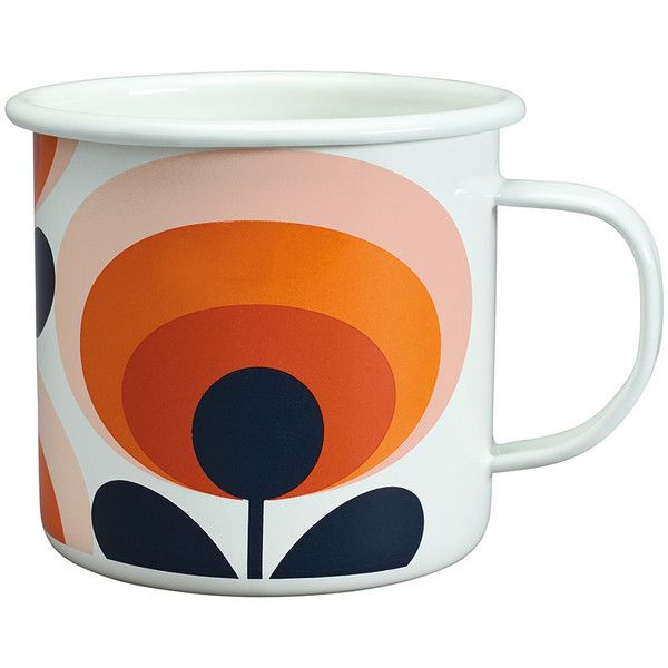 Orla Kiely 70s Flower Enamel Mug - Persimmon ($19) ❤ liked on Polyvore featuring home, kitchen & dining, drinkware, orange, enamel mug, orange mugs, enamel tableware, floral mugs and orla kiely