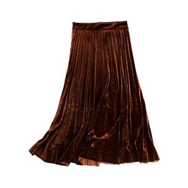 Velvet felt maxi pleated skirt for women clothing Chicatory ($46) ❤ liked on Polyvore featuring skirts, velvet maxi skirt, brown velvet skirt, velvet skirt, long pleated maxi skirt and pleated skirt