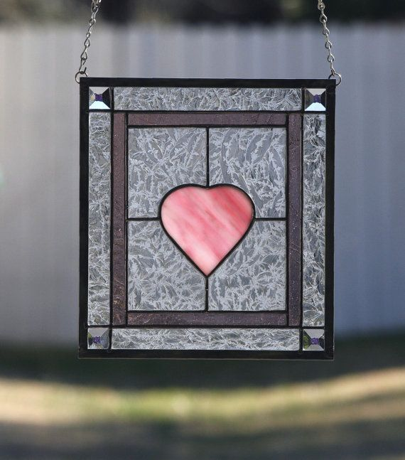 LOVE-Contemporary Stained Glass Panel with Pink by gallerydelsol