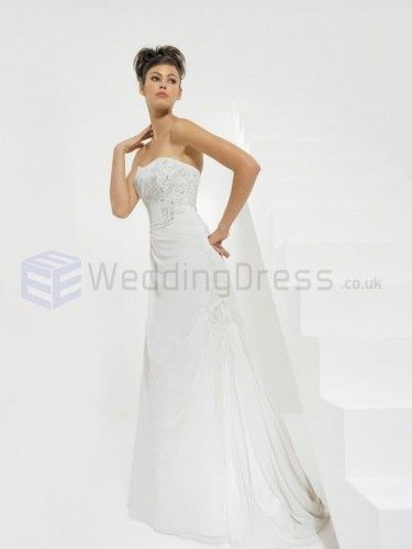 A-line Chiffon Embroidered Bodice Softly Curved Neckline Sweep Train Wedding Dresses