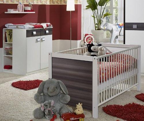 Best Babyzimmer EMMA tlg in alpinwei u Nussbaum Graphit
