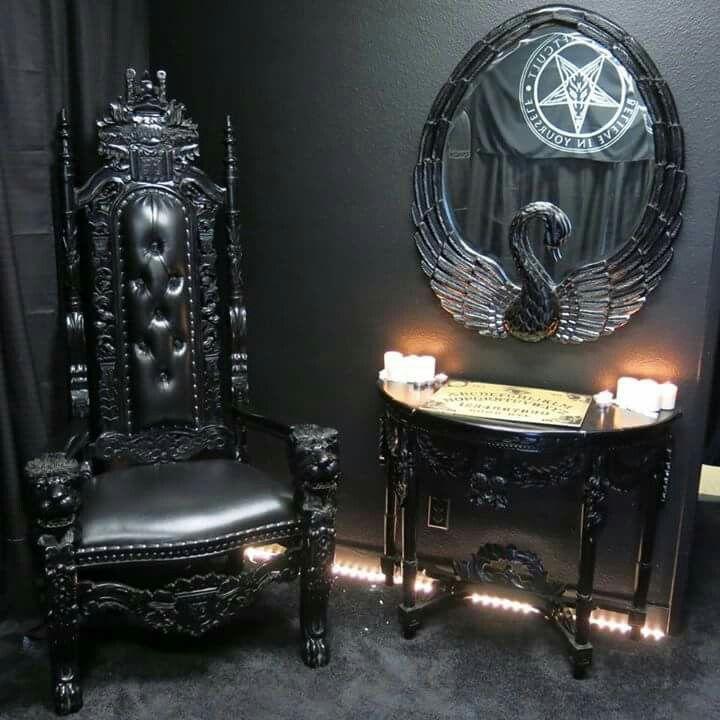 Nebel, Nacht, Dekoration, Psychopath, Gothic Interior, Gotische Möbel,  Schwarzen Möbeln, Schwarz Innen, Dungeon Zimmer