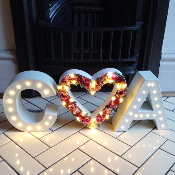 Initials & flower heart light up letter lights by TheWhiteBulb