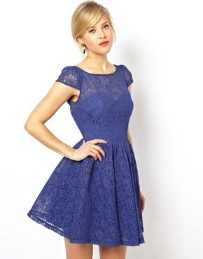 Would wear this as a guest to a wedding... love this color. ASOS Lace Short Sleeved Skater Dress