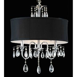 @Overstock - Give your living room a sophisticated finish by crowning it with this elegant shade and crystal chandelier. This chandelier has a sleek black shade complemented with a set of light catching crystals to amplify the luminance of its three lights.http://www.overstock.com/Home-Garden/Chrome-3-light-Black-Shade-Crystal-Chandelier/4488456/product.html?CID=214117 $109.99