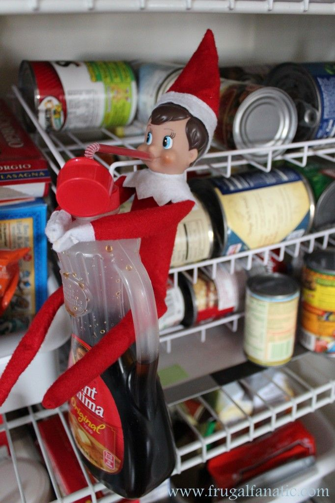 Elf On The Shelf Ideas: Drinking syrup! This is a fun idea especially when the kids find their silly elf drinking syrup!
